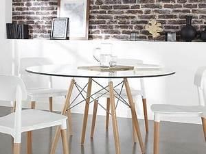 Table à Manger Verre Et Bois : table ronde en verre transparent et pieds bois siri achat design ~ Teatrodelosmanantiales.com Idées de Décoration