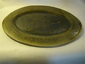 Handmade Pottery Platter / Plate Green Leaf Design