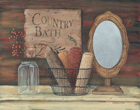 Primitive Bathroom Wall Decor by Country Bath By Pam Britton Print Framed Unframed