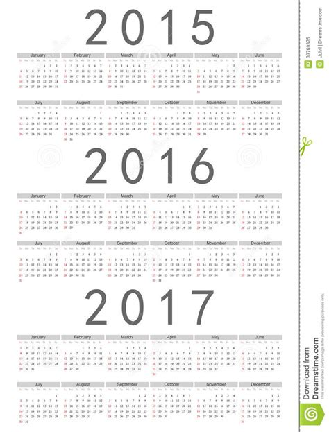 European 2015 2016 2017 Year Vector Calendar Royalty