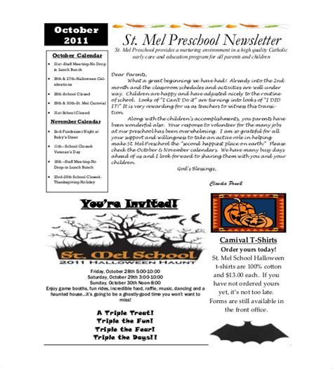 10 preschool newsletter templates free sample example 780 | Preschool Newsletter Templates Free