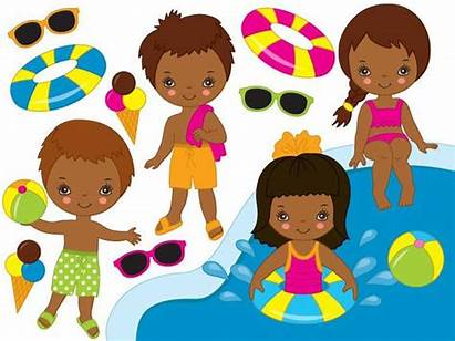 African Pool American Party Clipart Vector Swimming