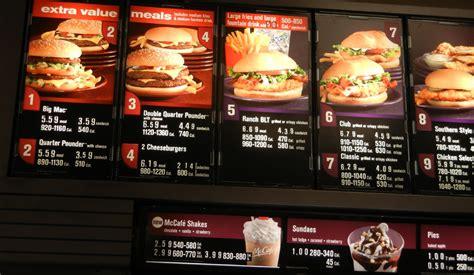fast food menus  calories included mcdonalds