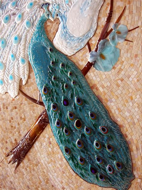 mosaic  fused glass tile mural peacock lovers
