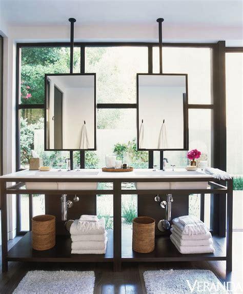 Hanging A Bathroom Mirror by Bathroom Vanity In Front Of Window Contemporary