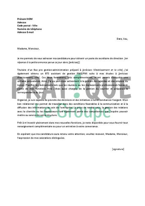 lettre de motivation secretaire debutant lettre de motivation pour un emploi de secr 233 taire de direction d 233 butant pratique fr