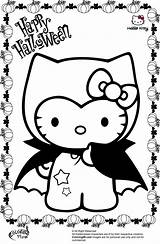 Halloween Coloring Pages Kitty Hello Vampire sketch template