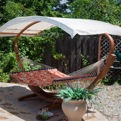 hammock with canopy and stand bliss hammocks wooden arc hammock stand with canopy