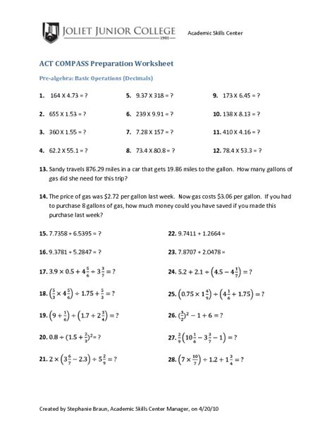 Operations With Decimals Worksheet  Operations With Decimals Worksheet Kuta Multiplying And