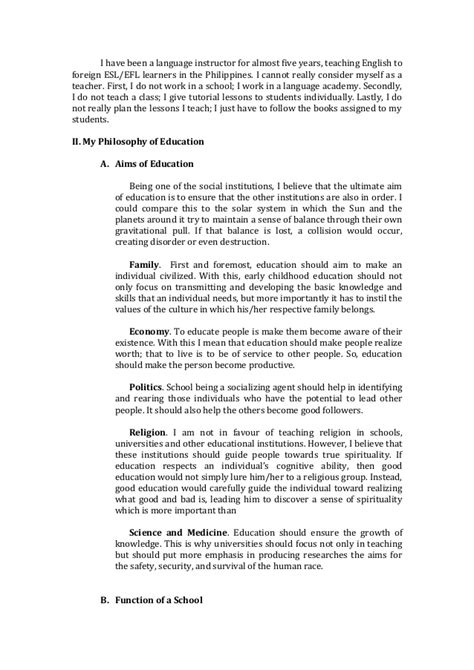 early childhood education admissions essay