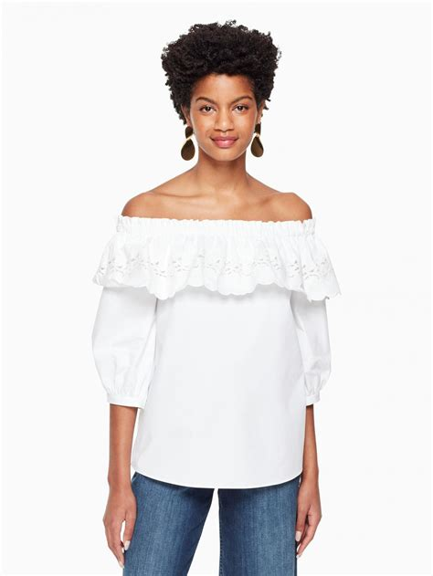 Kate Spade Tops - Womens Cutwork Off The Shoulder Top ...