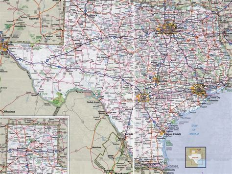 large detailed roads  highways map  texas state