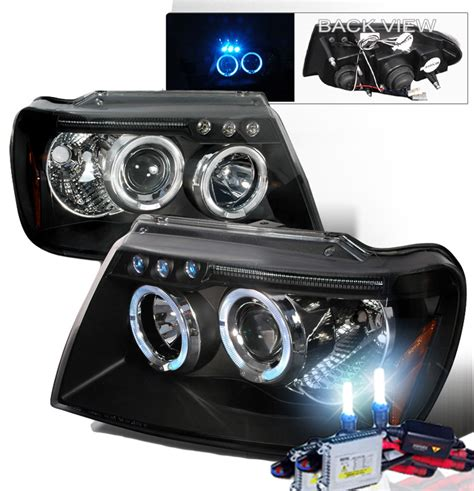jeep black headlights hid xenon 99 04 jeep grand cherokee angel eye halo led