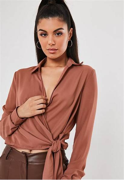 Blouse Tie Side Wrap Rose Missguided Tops