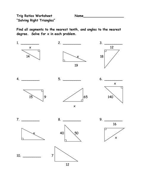 Trigonometry Ratios Worksheet Rcnschool