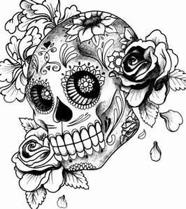 Crane Mexicain Dessin : id e de tatouage cr ne mexicain stylis avec fleurs tatouages motifs et photos ~ Melissatoandfro.com Idées de Décoration