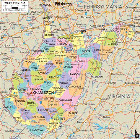 detailed political map  west virginia ezilon maps