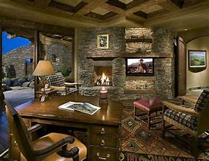 Stone wall with fireplace and TV becomes the showstopper
