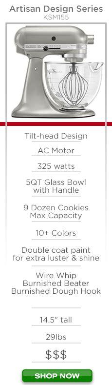 kitchenaid artisan mixer comparison page