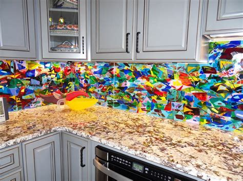 Colorful Abstract Kitchen Backsplash   Designer Glass Mosaics