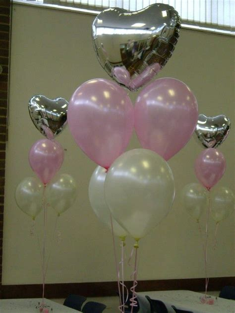 pretty balloon bouquet  pale pink  white balloons