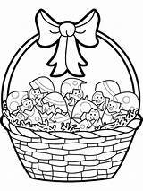 Easter Basket Coloring Pages Baskets Printable Silhouettes Colouring Clipart Happy Clip Silhouette sketch template