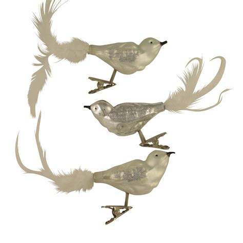 glass clip on silver birds with feather tail christmas