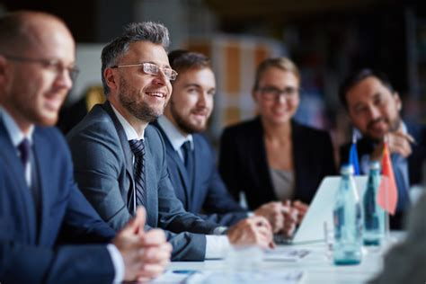 good atmosphere business meeting stock photo