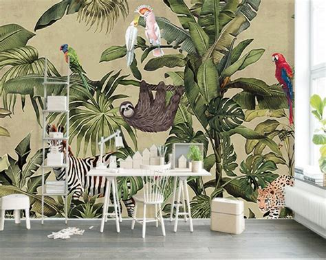 Tropical Animal Wallpaper - beibehang photo wall mural wallpaper retro tropical