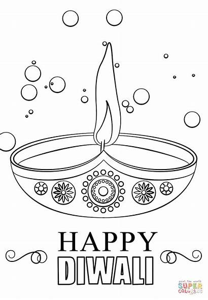 Diwali Diya Coloring Pages Candle Printable Happy