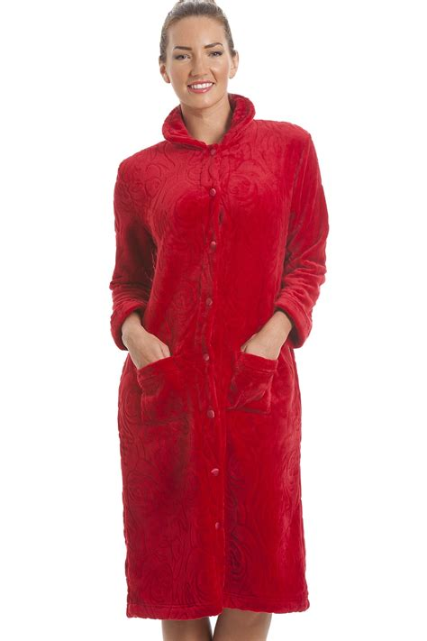 robes de chambre femme luxury supersoft button up fleece housecoat