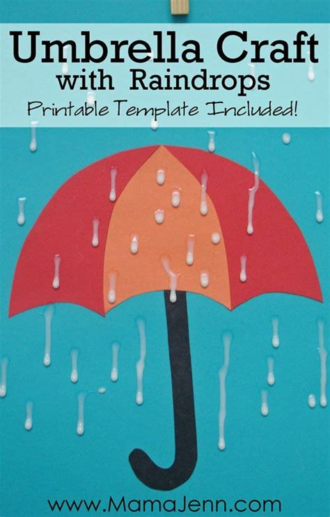 umbrella craft  raindrops    mix glue