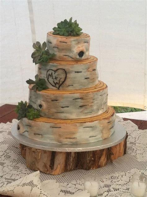 rustic birch bark wedding cake cakecentralcom