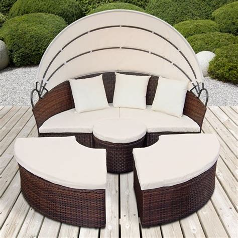canape rond exterieur canape de jardin rond modulable marron en résine tressée