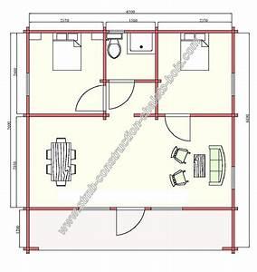 Chalet habitable en madriers 45 mm de 48 m² avec terrasse