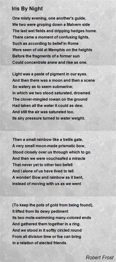 iris  night poem  robert frost poem hunter