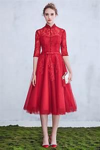 Robe Mi Longue Mariage : robe de mari e rouge modeste mi longue avec manches col monant ~ Melissatoandfro.com Idées de Décoration