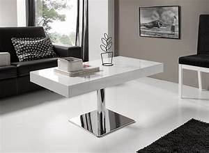 Table Salon Blanche : table base relevable blanche tables basses en ligne la table basse ~ Teatrodelosmanantiales.com Idées de Décoration