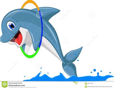 Cute Dolphin Cartoon Jumping Stock Illustration