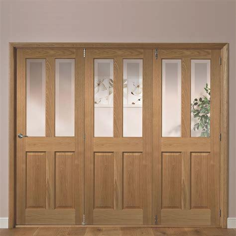 Living Room Doors At B Q by Elveden 4 Panel 2 Lite Oak Veneer Glazed Folding