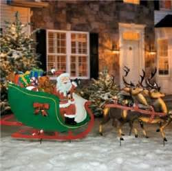 old fashioned santa claus reindeer sleigh metal yard art display outdoor decor