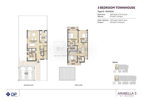 floor plans arabella townhouses dubai land by dubai