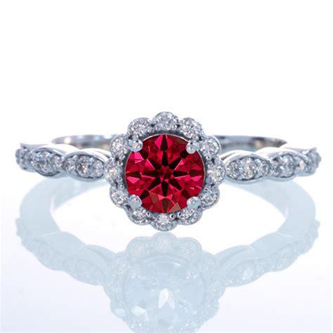 carat  cut ruby  diamond flower vintage