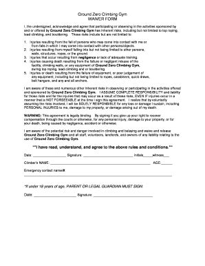 Gym Waiver Form  Fill Online, Printable, Fillable, Blank