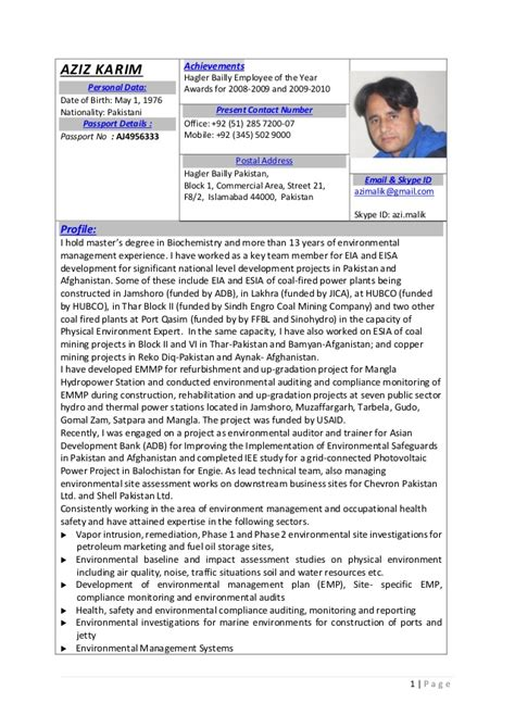 Environmental Specialist Resume by Aziz Karim Environmental Specialist Resume