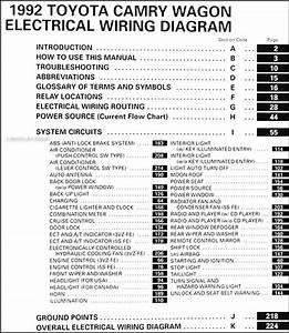 1992 Toyota Camry Wagon Wiring Diagram Manual Original