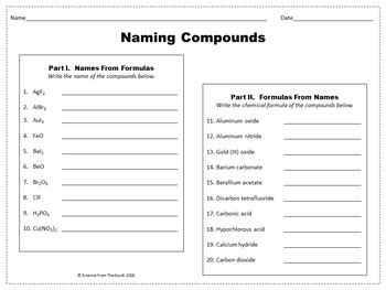 naming compounds worksheet for review or assessment by