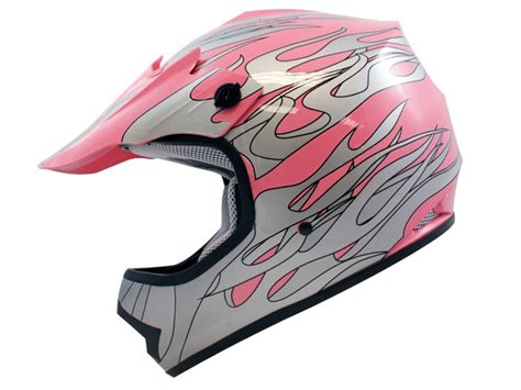 Youth Kids Pink Silver Flame Dirt Bike Motocross Off-road