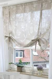Raffrollo Landhaus Shabby : rollo raffrollo roll gardine rose leinen 100x100 shabby ~ Watch28wear.com Haus und Dekorationen