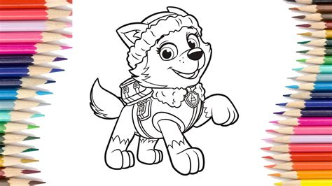 How To Draw Paw Patrol Everest Coloring Pages